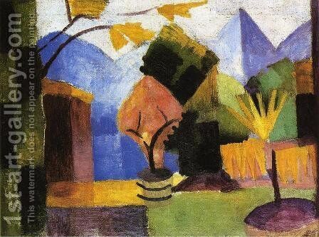 Garden on Lake of Thun by August Macke - Reproduction Oil Painting