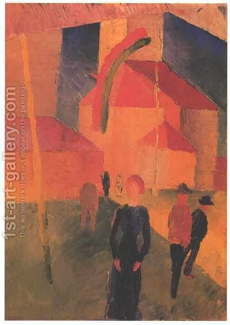 Church with Flags by August Macke - Reproduction Oil Painting