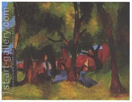 Children under Trees in Sun by August Macke - Reproduction Oil Painting