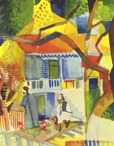 Courtyard of a Villa at St. Germain by August Macke - Reproduction Oil Painting