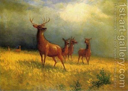 THE SIERRA NEVADA MOUNTAINS WITH DEER BIRSTADT PAINTING ART REAL CANVAS PRINT