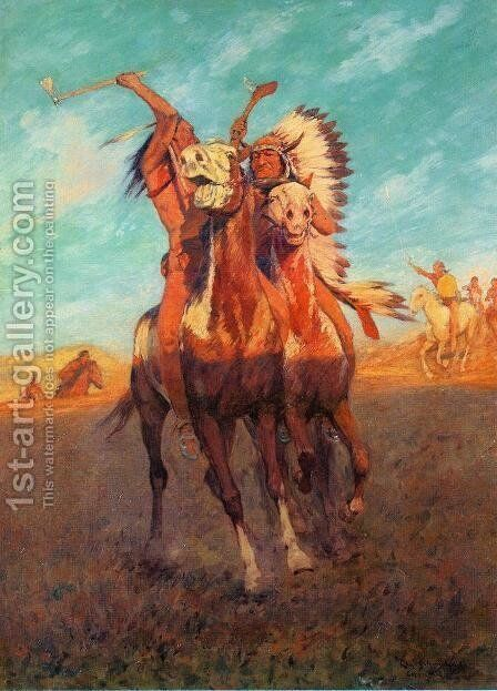 Fight to the Finish by Charles Schreyvogel - Reproduction Oil Painting