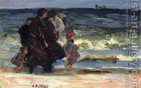 A Family at the Beach by Edward Henry Potthast - Reproduction Oil Painting