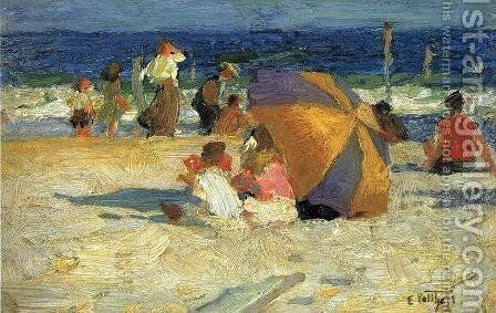 Beach Umbrella by Edward Henry Potthast - Reproduction Oil Painting