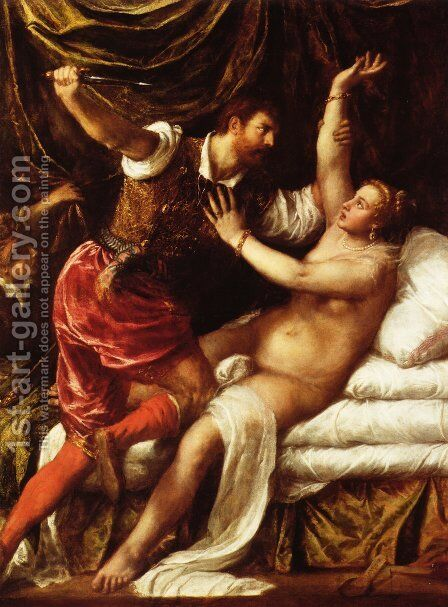 Tarquin and Lucretia 2 by Tiziano Vecellio (Titian) - Reproduction Oil Painting