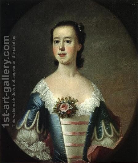 Mrs. Thomas Lynch (Elizabeh Allston Lynch) by Jeremiah Theus - Reproduction Oil Painting