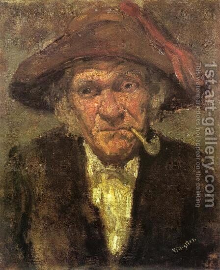 Head of an Old Man Smoking by James Abbott McNeill Whistler - Reproduction Oil Painting
