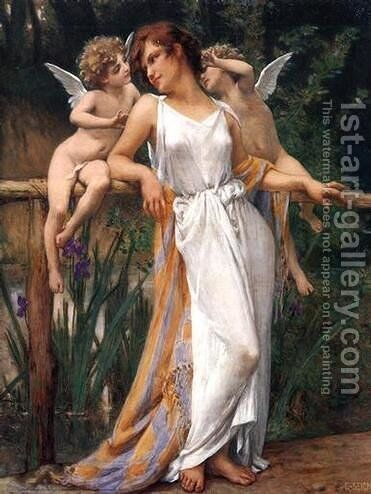Nymph and Cherubs by Guillaume Seignac - Reproduction Oil Painting