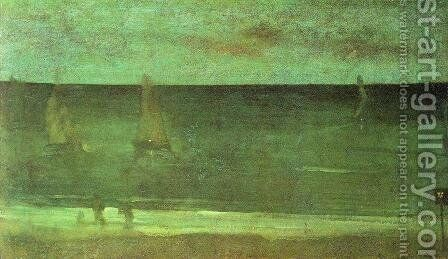 Nocturne: Blue and Silver - Bognor by James Abbott McNeill Whistler - Reproduction Oil Painting