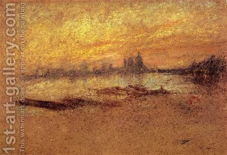 Red and Gold: Salute, Sunset by James Abbott McNeill Whistler - Reproduction Oil Painting