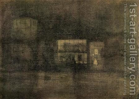 Nocturne: Black and Gold - The Rag Shop, Chelsea by James Abbott McNeill Whistler - Reproduction Oil Painting