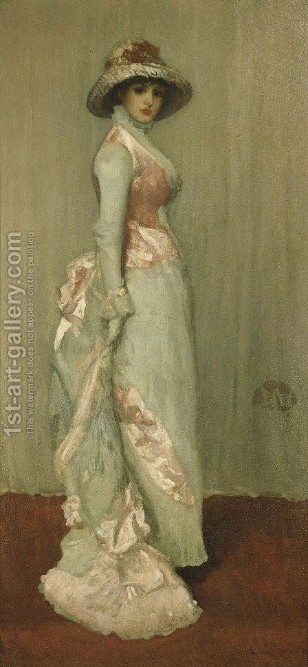 Harmony in Pink and Grey: Valerie, Lady Meux by James Abbott McNeill Whistler - Reproduction Oil Painting