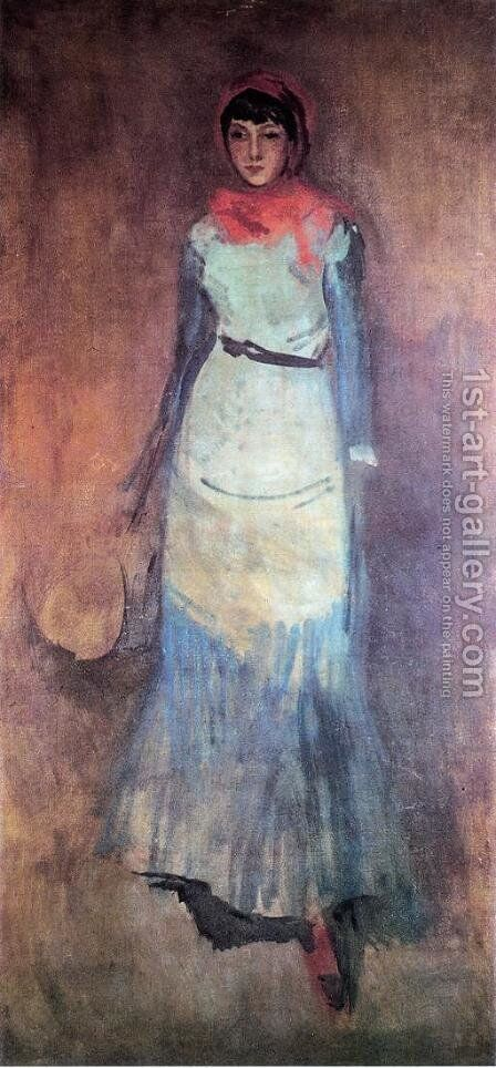 Harmony in Coral and Blue: Milly Finch by James Abbott McNeill Whistler - Reproduction Oil Painting