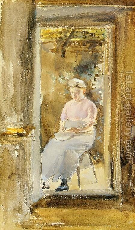 Pink Note: Shelling Peas by James Abbott McNeill Whistler - Reproduction Oil Painting
