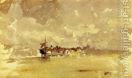 Gold and Grey: the Sunny Shower - Dordrecht by James Abbott McNeill Whistler - Reproduction Oil Painting