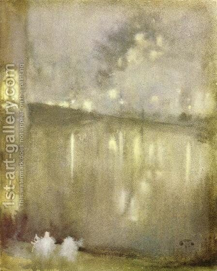 Nocturne: Grey and Gold - Canal, Holland by James Abbott McNeill Whistler - Reproduction Oil Painting
