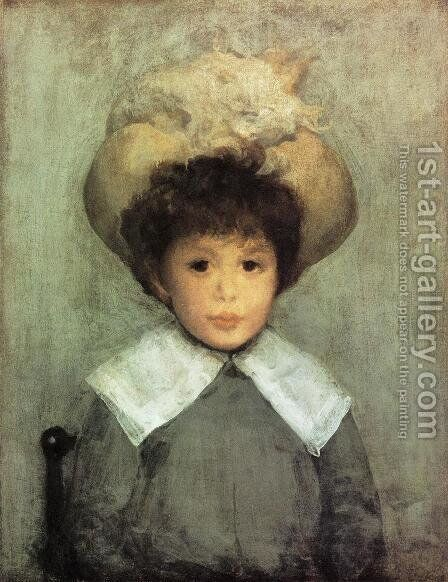 Arrangement in Grey: Portrait of Master Stephen Manuel by James Abbott McNeill Whistler - Reproduction Oil Painting