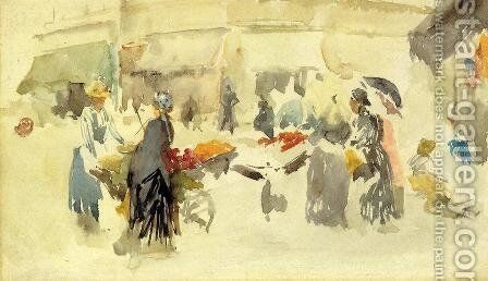 Flower Market by James Abbott McNeill Whistler - Reproduction Oil Painting