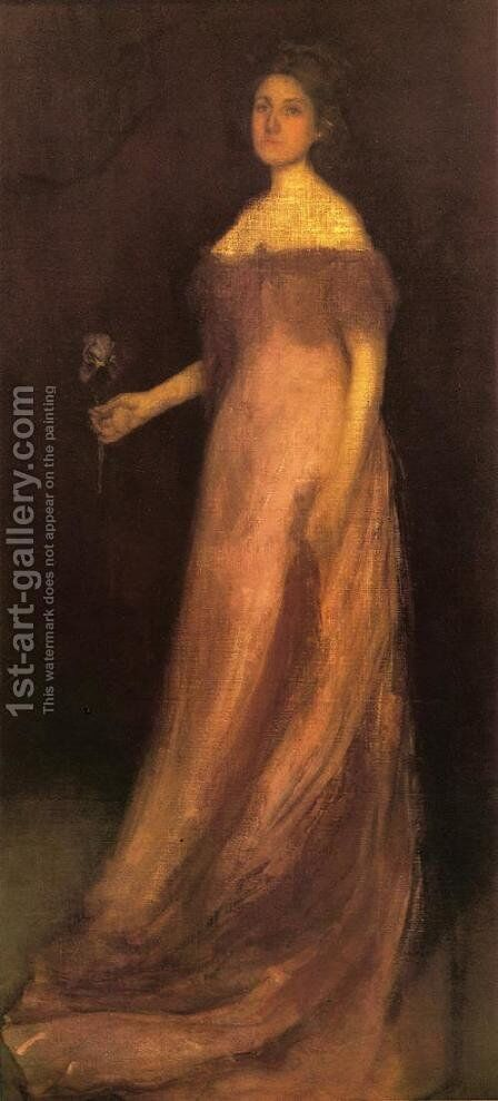 Rose and Green: The Iris - Portrait of Miss Kinsella by James Abbott McNeill Whistler - Reproduction Oil Painting