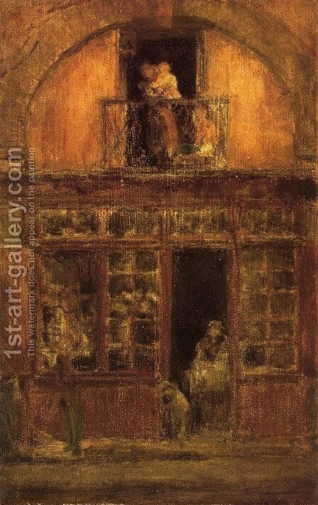 A Shop with a Balcony by James Abbott McNeill Whistler - Reproduction Oil Painting