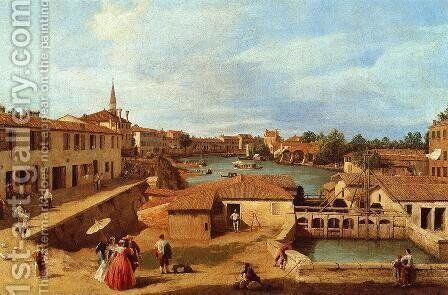 Sluice Gates at Dolo by (Giovanni Antonio Canal) Canaletto - Reproduction Oil Painting