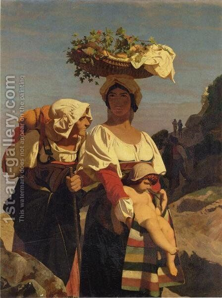 Two Italian Peasant Women and an Infant by Jean-Léon Gérôme - Reproduction Oil Painting