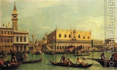 Piazzetta and the Doge's Palace from the Bacino di San Marco by (Giovanni Antonio Canal) Canaletto - Reproduction Oil Painting