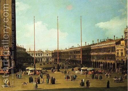 Piazza San Marco, Looking Towards San Geminiano by (Giovanni Antonio Canal) Canaletto - Reproduction Oil Painting