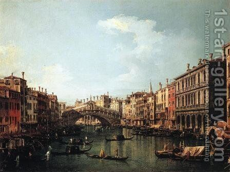 Rialto Bridge from the South by (Giovanni Antonio Canal) Canaletto - Reproduction Oil Painting
