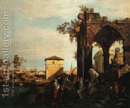 Landscape with Ruins I by (Giovanni Antonio Canal) Canaletto - Reproduction Oil Painting