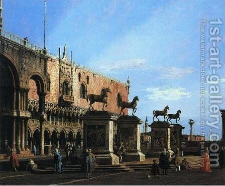 Capriccio With the Four Horses From the Cathedral of San Marco by (Giovanni Antonio Canal) Canaletto - Reproduction Oil Painting