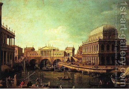 Basilica di Vecenza and the Ponte de Rialto by (Giovanni Antonio Canal) Canaletto - Reproduction Oil Painting