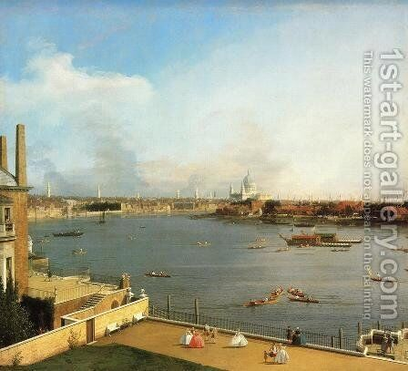 The Thames and the City of London from Richmond House by (Giovanni Antonio Canal) Canaletto - Reproduction Oil Painting