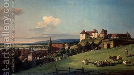 Fortress of Sonnenstein above Pirna by Bernardo Bellotto (Canaletto) - Reproduction Oil Painting