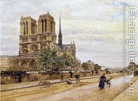 Notre dame de Paris and the Flower Market by Marie-Francois-Firmin Girard - Reproduction Oil Painting