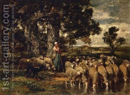 A Shepherdess with Her Flock 2 by Charles Émile Jacque - Reproduction Oil Painting