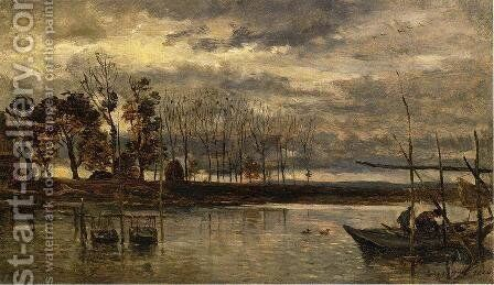 Eel Fishermen by Charles-Francois Daubigny - Reproduction Oil Painting