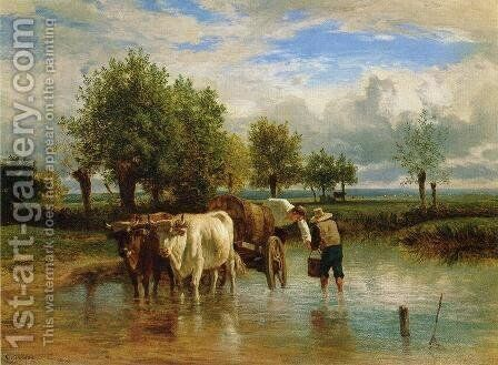 Water Carriers by Constant Troyon - Reproduction Oil Painting
