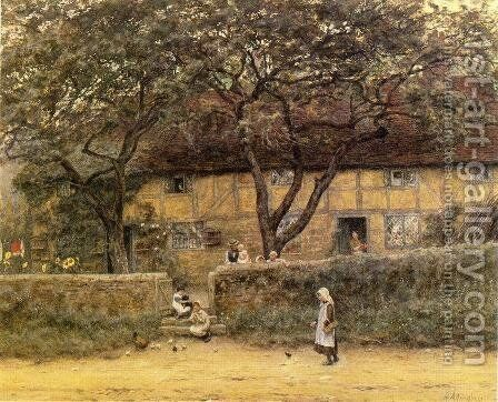 Children Outside a Cottage by Helen Mary Elizabeth Allingham, R.W.S. - Reproduction Oil Painting
