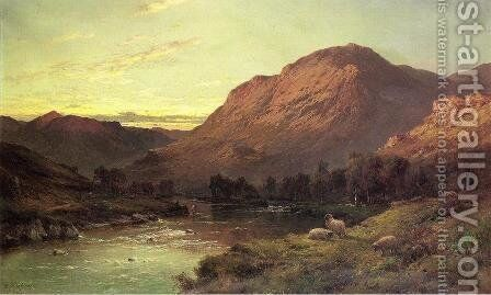 A Salmon River in Scotland by Alfred de Breanski - Reproduction Oil Painting
