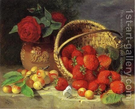 A Basket of Strawberries, Cherries, a Butterfly and Red Roses in a Vase on a Stone Ledge by Eloise Harriet Stannard - Reproduction Oil Painting