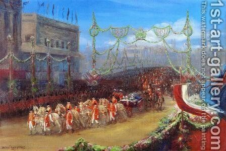 Queen Victoria's Diamond Jubilee: The Royal Procession Passing over London Bridge, 20 June 1897 by Helen Thornycroft - Reproduction Oil Painting
