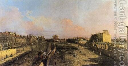 London: Whitehall and the Privy Garden looking North by (Giovanni Antonio Canal) Canaletto - Reproduction Oil Painting