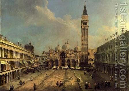 Piazza San Marco: Looking East along the Central Line by (Giovanni Antonio Canal) Canaletto - Reproduction Oil Painting