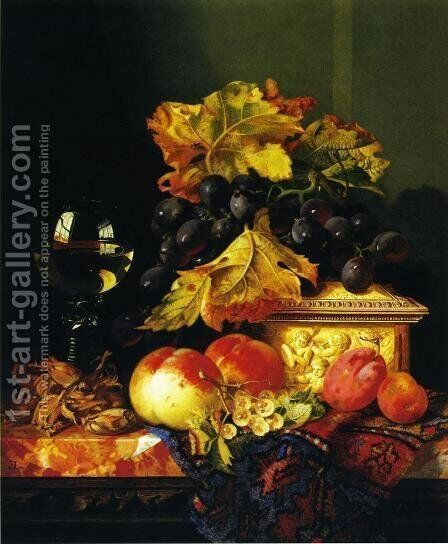 Black Grapes on a Carved Ivory Box, Peaches, Whitecurrants and Hazelnuts with a Hoch Glass on a Marble Ledge by Edward Ladell - Reproduction Oil Painting