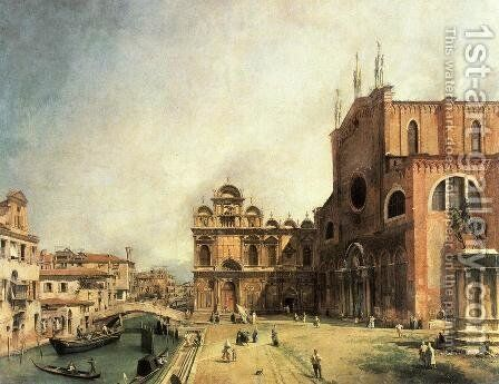SS. Giovanni e Paulo and the Scuola de San Marco by (Giovanni Antonio Canal) Canaletto - Reproduction Oil Painting