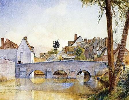 Pont de Minimes, Chartres by Henry Roderick Newman - Reproduction Oil Painting