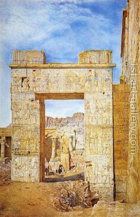 The Gateway of Philadelphus, Philae by Henry Roderick Newman - Reproduction Oil Painting