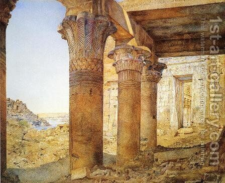 Temple of Philae from the Outer Court by Henry Roderick Newman - Reproduction Oil Painting