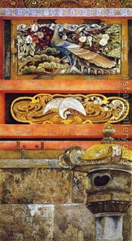 Wall Enclosing the Mausoleum of Ieyasu at Nikko by Henry Roderick Newman - Reproduction Oil Painting
